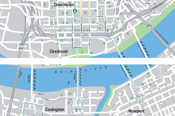 Map Of Downtown Cincinnati Cincinnati Map   Downtown, Attractions, Dining   Cincinnati Area Map
