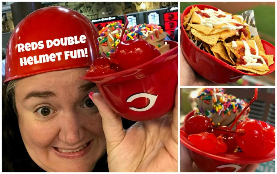 Fun with helmet food at Cincinnati Reds game (photo: Heather Johnson)
