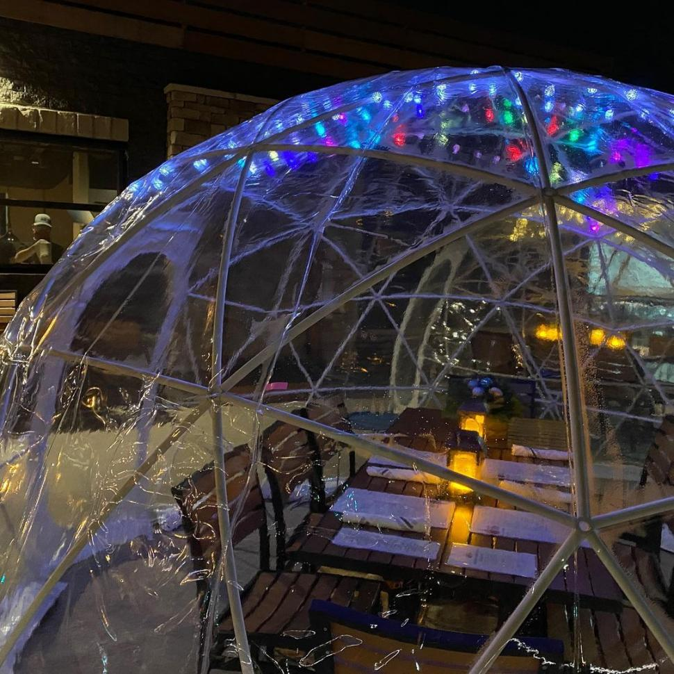 Igloo dining at Catch-A-Fire Pizza Blue Ash location (photo: @catchafire)