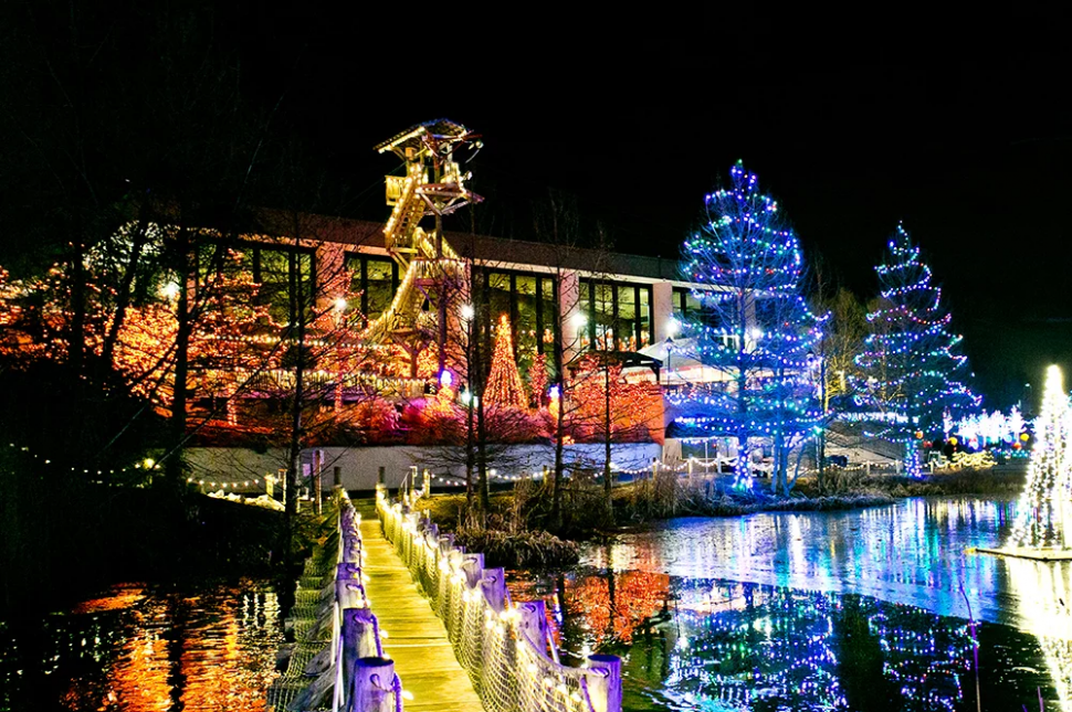 Exterior of Creation Museum lit up with holiday lights for ChristmasTown event. (photo: Answers in Genesis)