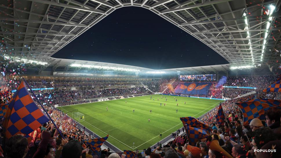 Rendering of West End Stadium, the new home of FC Cincinnati (photo: Populous)