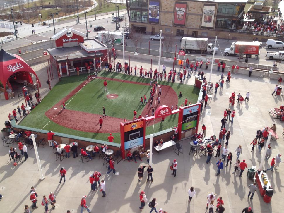 Fan Zone wiffle ball field at Great American Ball Park