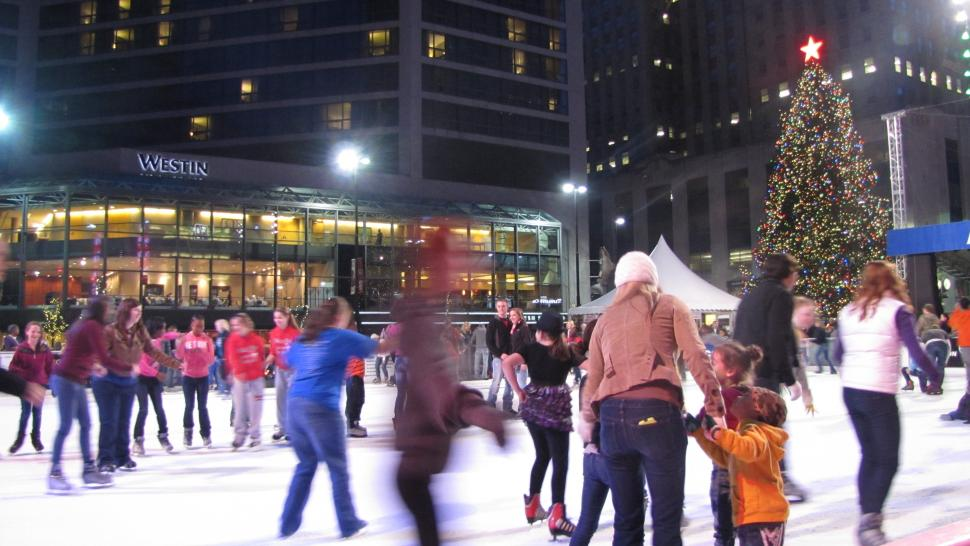 Ice skating on Fountain Square Ice Rink