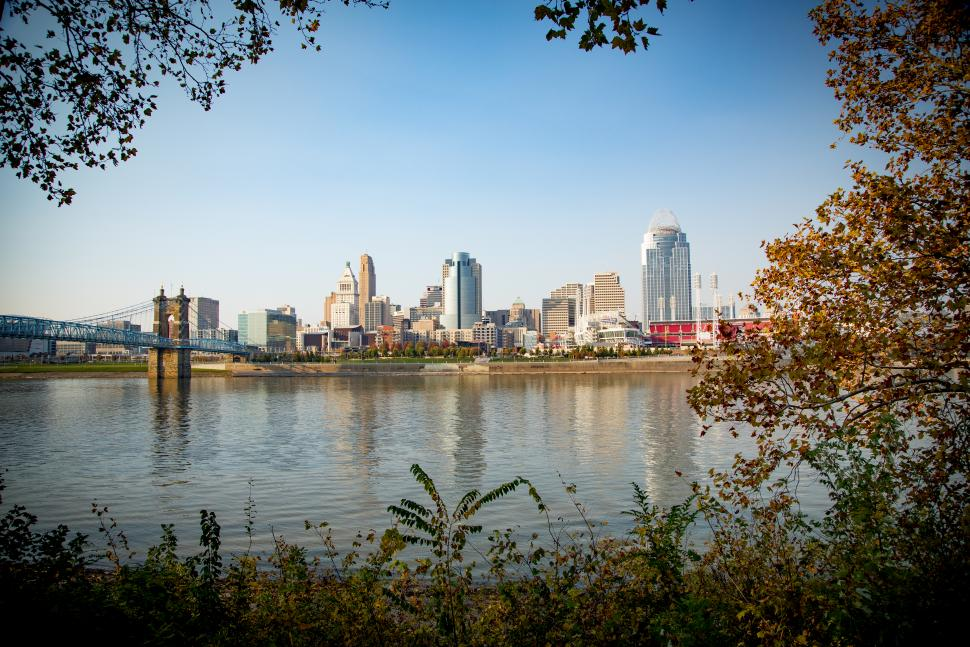 View of Ohio River and Cincinnati skyline
