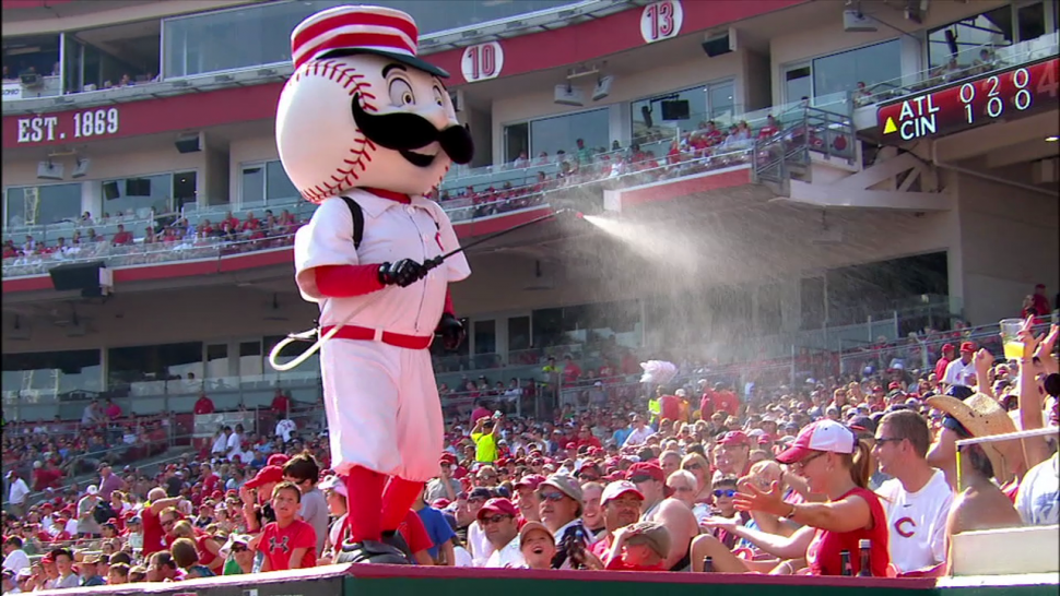 Mr. Redlegs spraying water at a Cincinnati Reds game (photo: CincinnatiUSA.com)