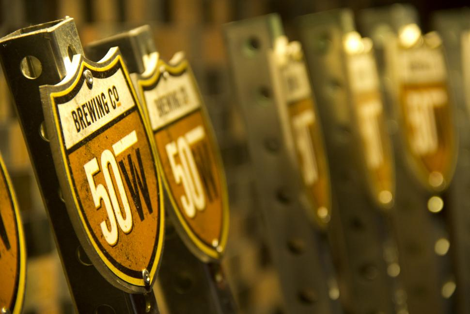 Beer taps at Fifty West Production Works (photo: Fifty West Brewing Co.)