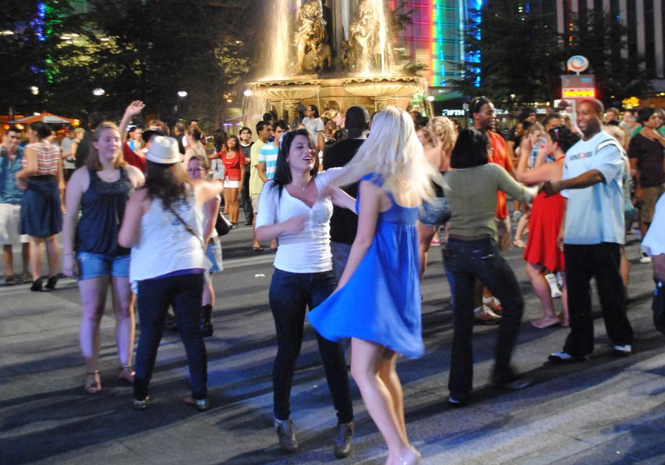 Salsa dancing on Fountain Square