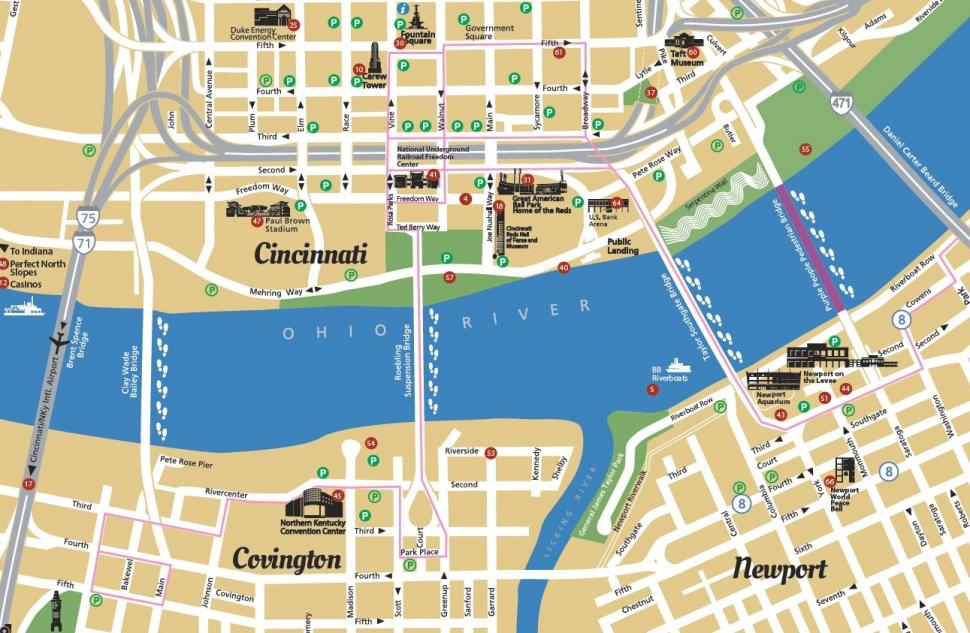 Cincinnati USA Riverfront Map