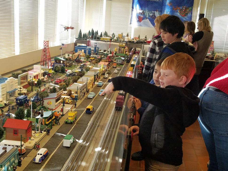 Youngsters are captivated by BCM's Holiday Toy Trains.