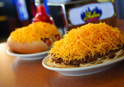 Skyline Chili coney and 3-way (photo: Skyline Chili)