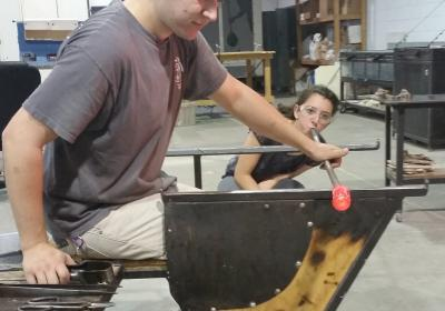 Blowing glass at Neusole Glassworks