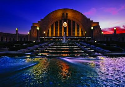 Cincinnati Museum Center at Union Terminal at dusk