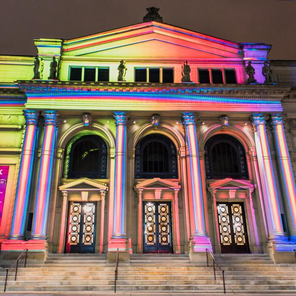 Memorial Hall during BLINK® | Illuminated by ArtsWave (photo: Louis Rideout)