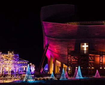 Exterior of the Ark Encounter lit up for ChristmasTime at the Ark holiday event