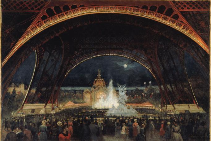 Alexandre-Georges Roux (1855–1929), Nighttime Festivities at the International Exposition of 1889 under the Eiffel Tower, circa 1889, oil on canvas, Musée Carnavalet, Paris, © Musée Carnavalet/Roger-Viollet