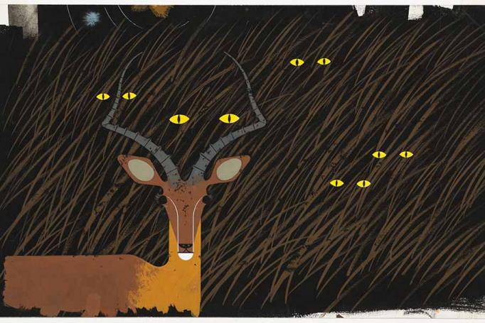 Gazelle in the Grass (Nighttime), Charley Harper