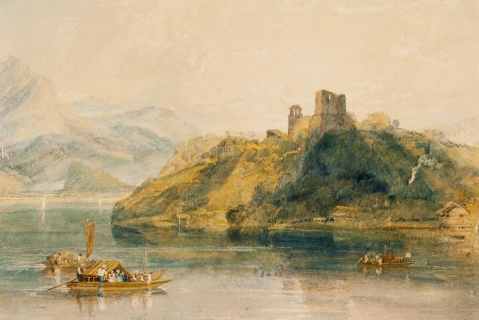 Joseph Mallord William Turner (English, 1775–1851), Château de Rinkenberg, on the Lac de Brienz, Switzerland, 1809, watercolor on paper, 11 1/16 x 15 1/2 in. Bequest of Mr. and Mrs. Charles Phelps Taft, 1931.388